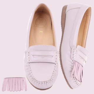 Moccasins Leather Loafer removable tassel Rubber sole