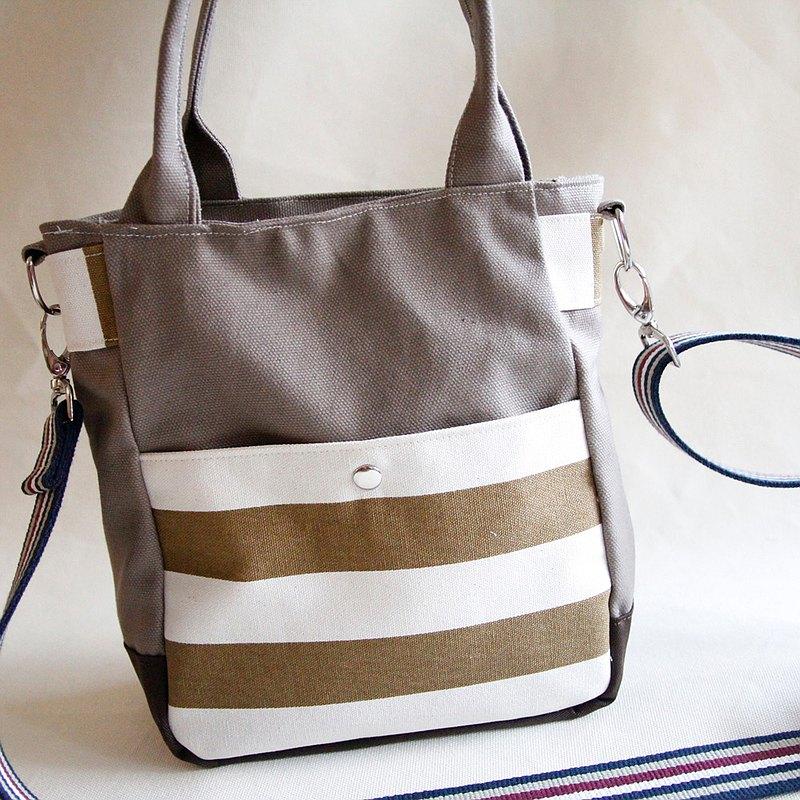 肩背/斜背兩用卡其帆布包, 土黃粗條紋, 卡其帆布