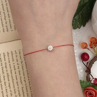 925 Sterling Silver Daisy Daisy Red Hand Strap Silver Silver Fine Superfine Bracelet Red