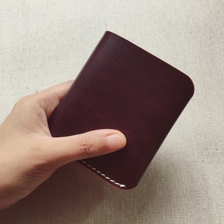 Simple six-card vertical version brown short clip Italian vegetable tanned leather handmade dyeing sewing can be customized