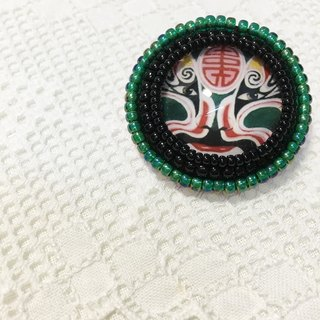 Green Face embroidery brooches Green Face Brooch (JEBR037)