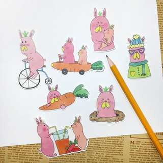 Transparent Fog Film Sticker - Garden Bunny Papa Sticker (7)