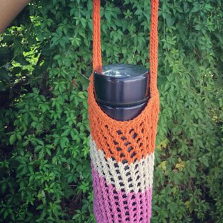 Mesh woven kettle bag / beverage bag (orange white)