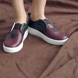 [Show products clear] Facade and bandage structure thick-soled leather casual shoes black red