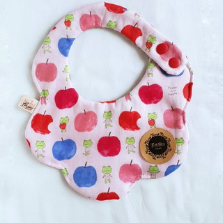 Frog Apple - Pink - Eight Layers 100% Cotton Double Sided Bib. Saliva Towel