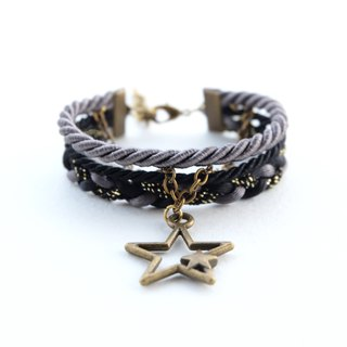 Star layered bracelet in charcoal / black / glittered black