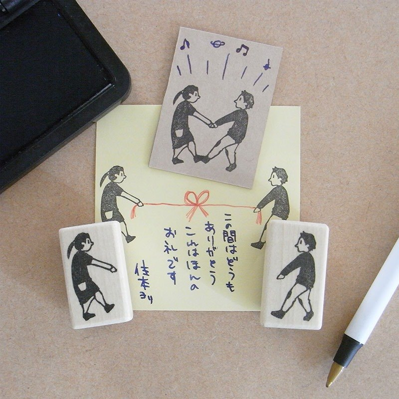 Hand made rubber stamp group work