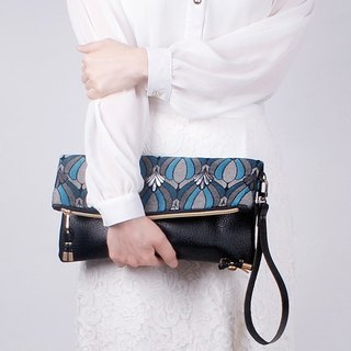 Queen Blue fold over clutch
