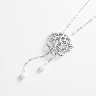 Classical Stereo Lace Pearl Pendant Necklace Handmade 925 Sterling Silver