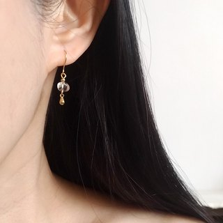 E038-Smart 2 - Brass Natural Crystal Needle Clip Earrings