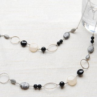 Funny Jasper and Monotone Stone Necklace with Pattern