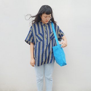 2 way canvas tote bag-Blue No.1
