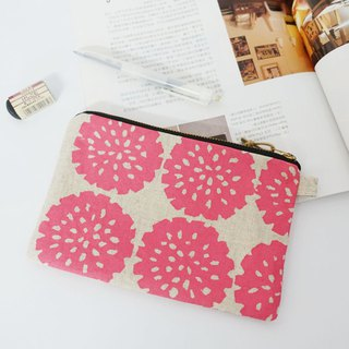 Screen printing clutch bag flower-Pink