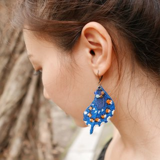 Embroidery Butterfly 'Papilio Tail' Earring / Pipevine Swallowtail Butterfly