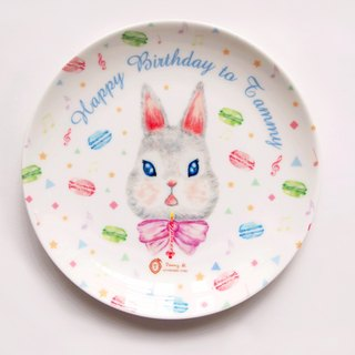 Happy Birthday Series / Macaroon Rabbit Rabbit Macaron name engraved ceramic dish meal / shallow dish (including printed name service)