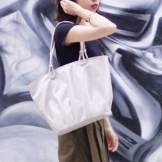 Shell Dance | Light Gray Pleated Shell Tote Bags Large-Size Shopping Bags Shoulder Bags Leather Top Cowhide Leather