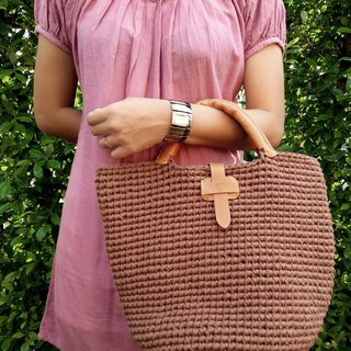 Handmade Vintage Crochet Tote Handbag (t-shirt yarn) with leather handle wrap