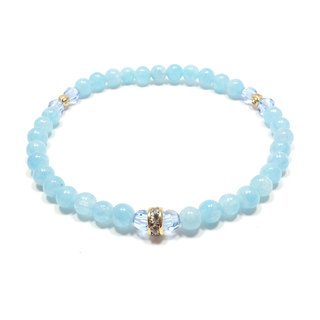 Aquamarine SWAROVSKI light blue crystal gold plated rhinestone beads bracelet lucky stone