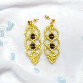 E012-Handwoven Rotating Pattern Earrings Purple Glass Crystal