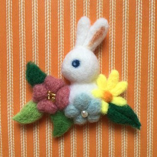 Bunny in the flowers - hand-made wool felt pins