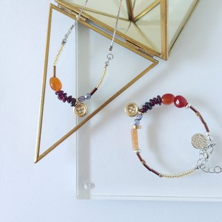 Little button|Cornelian / Carchedonia Mix & Match Crystal Gemstone Bracelet