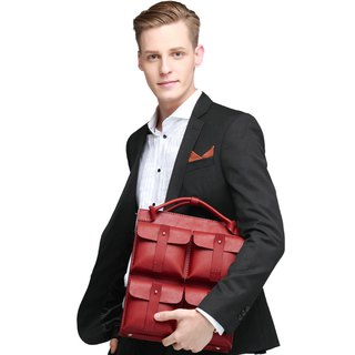 JIMMY RACING vertical and horizontal situation • mediation expert leather shoulder bag - red 0502182