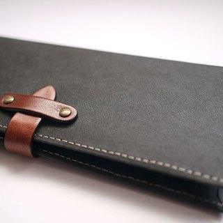 Long washed kraft paper clip / wallet / wallet / purse. black