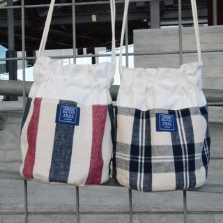 :::Bangstree:: Shoulder Bucket Bag - Cotton stripe