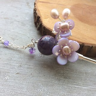 Meow hand-made Chinese wind double-sided plum natural amethyst hairpin