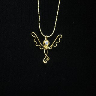 Winwing metal braided necklace - [Soul Wings]. Swarovski Crystal