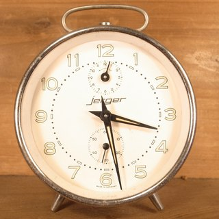 Old bone Jerger silver mechanical alarm clock VINTAGE