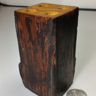 Old Taiwan Xiao Nan wooden table foot pen holder (D)