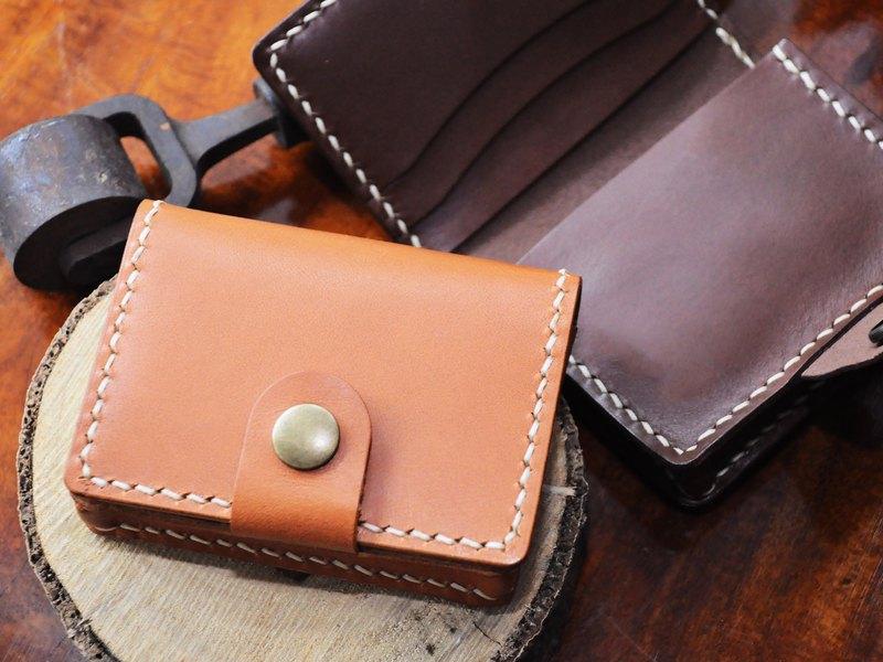 【對摺3咭位1風琴位咭套】好好縫 皮革材料包 免費壓字 手工包 卡片套 咭套 咭夾 名片夾 簡約實用 意大利皮 植鞣革 皮革DIY 卡包 咭包 零錢包 散紙包