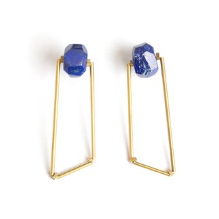 Polygonal lapis lazurite polygon earrings