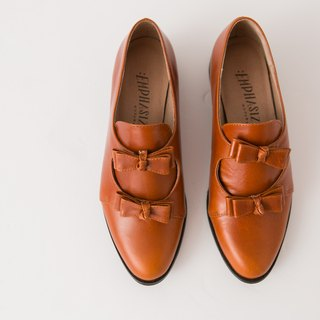 :EMPHASIZE double bow full leather shoes - camel