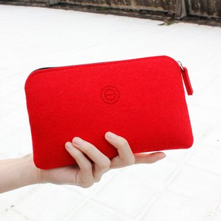 Clutch multifunctional simple wool felt / bright red [available when the pencil. Pouch phone. Cosmetic passport package]