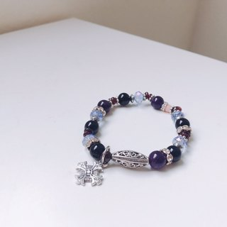 Turn & Jump! Crushed Amethyst Cross Ore Bracelet