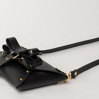 REAL LEATHER BOW pochette  --  BLACK Lsize