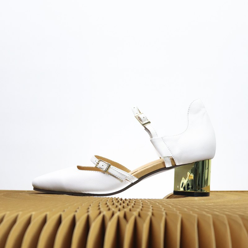 white leather golden heels