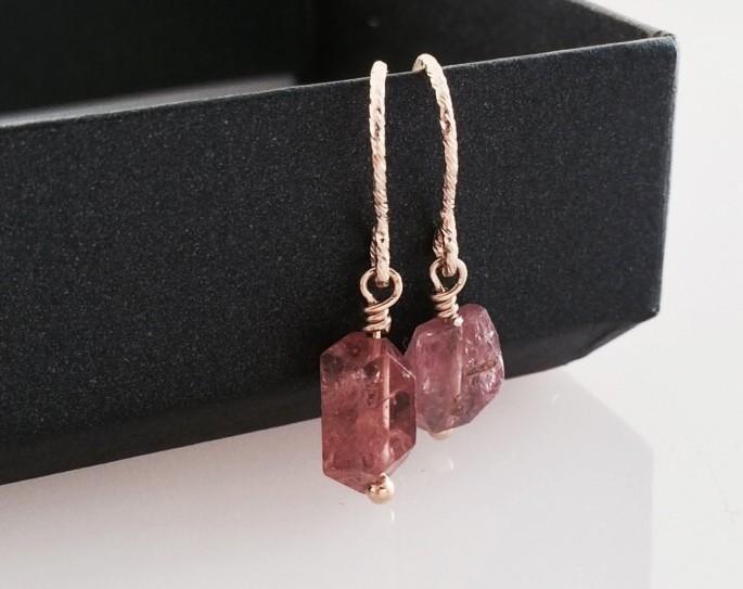 ◇天然尖晶石礦石◇K14GF耳環