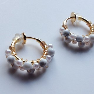 Howlite and vintage pearl hoop earrings 耳夾