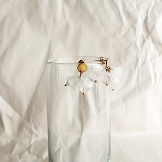 Petite Fleur in Clear Quartz | Flower Earrings / Stainless Steel