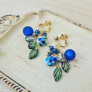 Botanical of blue and green Earrings
