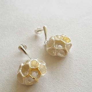 Sterling Silver Earrings Plant Series BTE002 Liquidambar Seed Gold