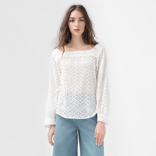 VACAE wide collar hollow top