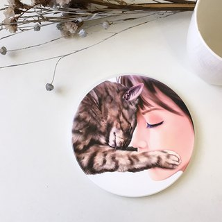 Animal illustration ceramic absorbent coaster [warm hug]