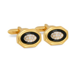 Gold Octagon Black Bezel with Crystals Cufflinks