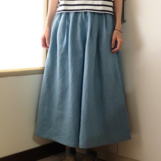 Daily Handmade Suit Romantic Turquoise Blue Pleated Skirt Linen