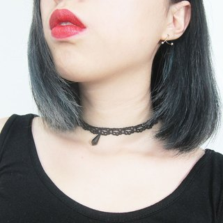 O+S= handmad gothic geometry tear crystal lace ribbon Necklace