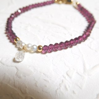 Pure moonstone bracelet garnet drop